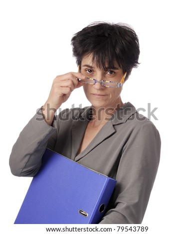mature female teacher looking over her glasses. isolated on white background