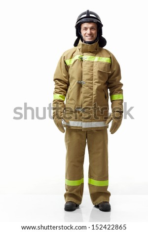 Mature fireman in uniform on a white background