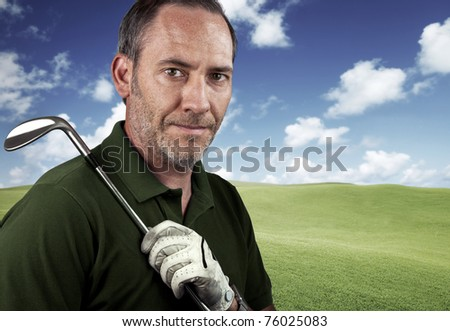 mature golf player