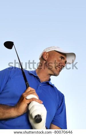 mature golf player - stock photo