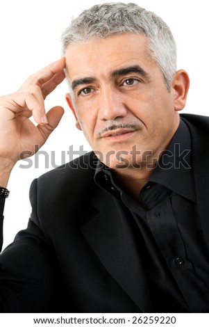 Mature gray haired creative looking businessman thinking, isolated on white background. - stock photo