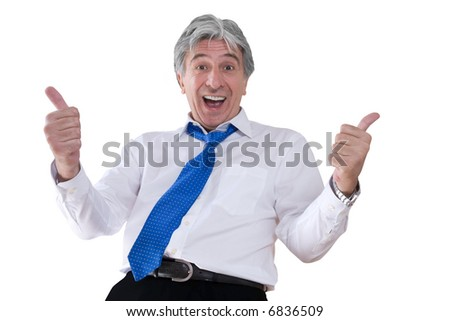 Mature gray-haired smiling businessman with thumbs up. - stock photo