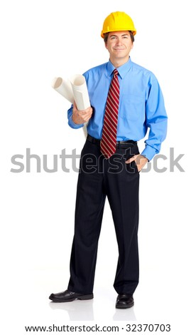 Mature handsome architect. Isolated over white background - stock photo