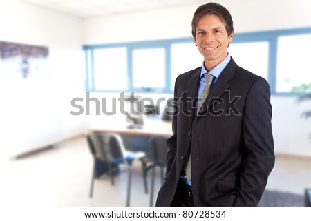 Mature handsome businessman smiling in an office environment - stock photo
