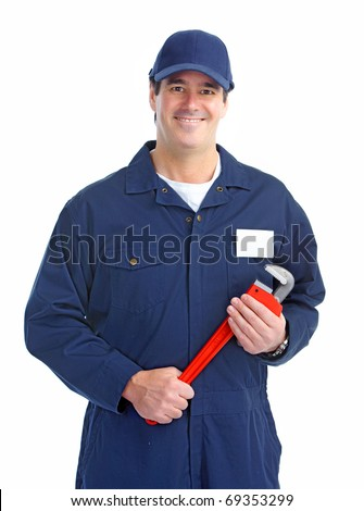Mature handsome plumber worker with adjustable wrench. Isolated over white background - stock photo
