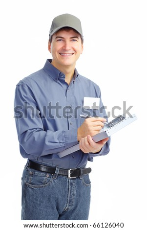 Mature handsome worker. Isolated over white background