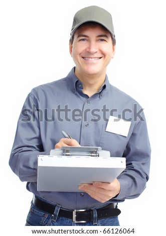 Mature handsome worker. Isolated over white background - stock photo
