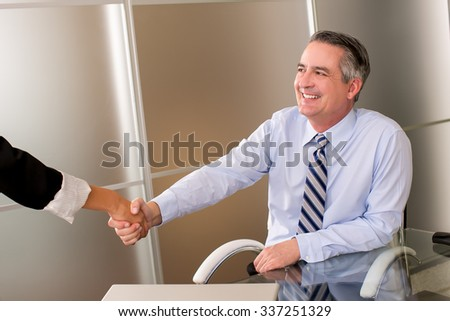 Mature happy smiling business man shaking hands - stock photo