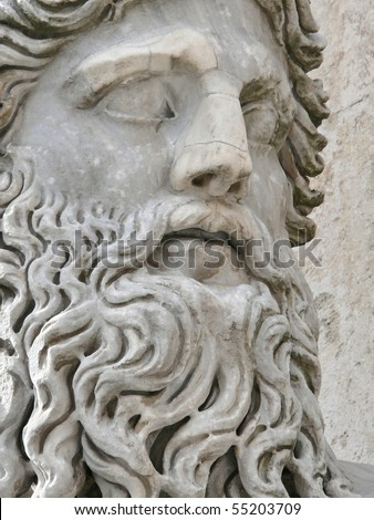 mature head of a beardy man close up. Famous sculpture in Rome. Italy. More of this motif & more Rome in my port - stock photo