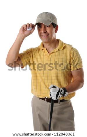 Mature Hispanic golfer saluting isolated on a white background - stock photo