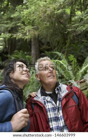 Mature man and middle aged woman looking up in forest - stock photo