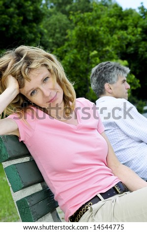 Mature man and woman having relationship problems