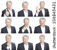mature man face expressions composite isolated on white background - stock photo
