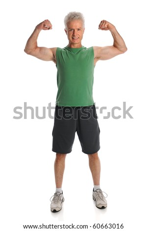 Mature man flexing muscles standing isolated over white background - stock photo