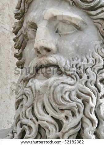 mature man head closeup, palazzo nuovo, campidoglio, rome, italy. More of this motif in my port.