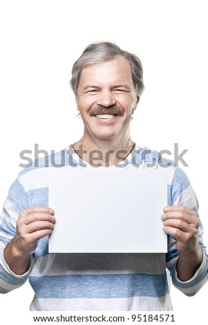mature man holding a blank billboard isolated on white background - stock photo