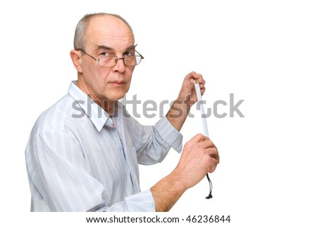 mature man in glasses with  Roulette isolated on white - stock photo