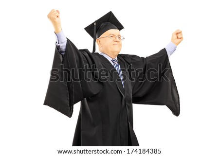 Mature man in graduation gown gesturing success with hands isolated on white background