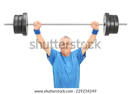 Mature man in sportswear holding a heavy weight isolated on white background - stock photo