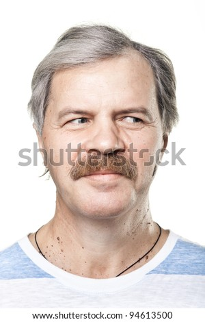 mature man looking to the right isolated on white background