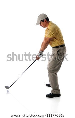 Mature man playing golf isolated over white background - stock photo