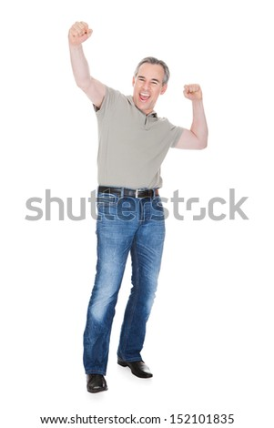Mature Man Raising His Hands isolated on White Background - stock photo