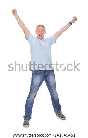 Mature Man Raising His Hands Over White Background - stock photo