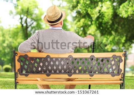 Mature man resting on a wooden bench in park - stock photo