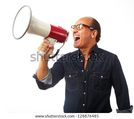 Mature Man Shouting In Megaphone Isolated On White Background - stock photo
