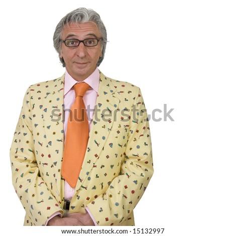 Mature man wearing eccentric clothes. - stock photo