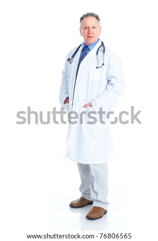 Mature medical doctor. Isolated over white background - stock photo