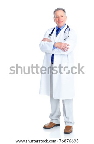 Mature medical doctor. Isolated over white background