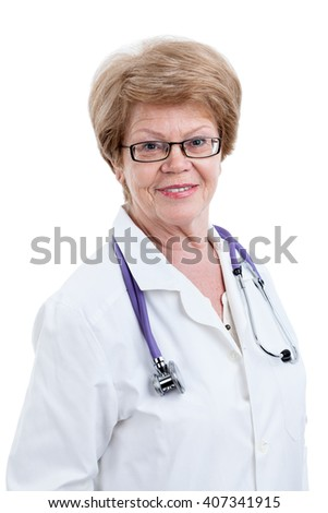 Mature medical professional portrait, Caucasian woman, isolated on white background - stock photo