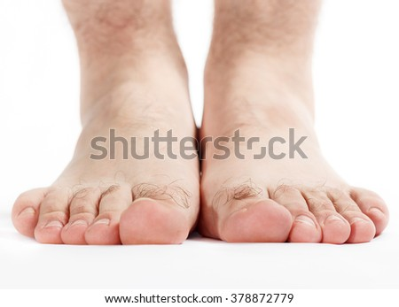 Mature men foot isolated on white background   - stock photo