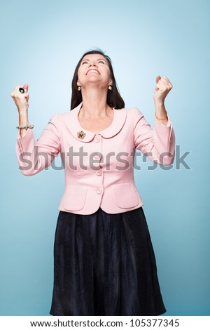 mature middle aged woman happy successful - stock photo