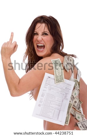 Mature naked frustrated woman with income tax form and US money stuck to her body making obscene gesture and screaming expressing her frustration by excessive taxation and complexity of tax code - stock photo