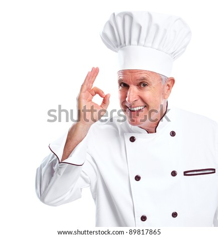 Mature professional chef man. Isolated over white background - stock photo