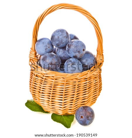 mature round blue plum with green leaves in a wicker basket  isolated on white background