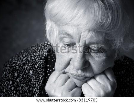 Mature sad woman - stock photo