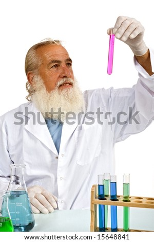 Mature scientist in lab isolated on white
