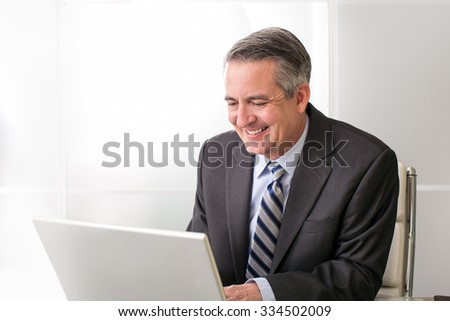 Mature smiling business man on his computer in office - stock photo