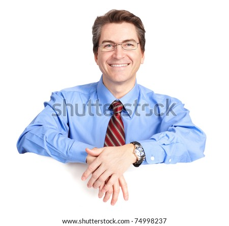 Mature smiling businessman. Isolated over white background - stock photo