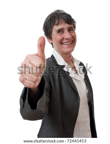 mature smiling businesswoman with thumb up isolated on white background - stock photo