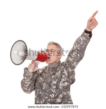 Mature Soldier Shouting Through Megaphone Isolated On White Background - stock photo