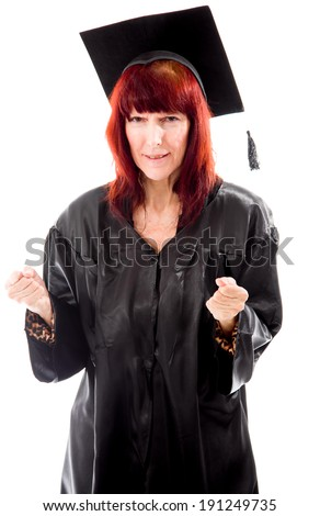 Mature student excited - stock photo