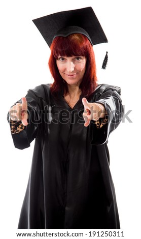 Mature student pointing with both hands