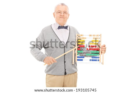 Mature teacher pointing with a stick on an abacus isolated on white background - stock photo