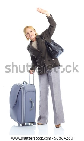 mature tourist woman with trunks. Isolated over white background - stock photo