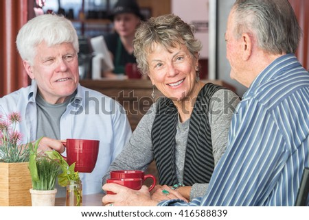 Mature trio of friends in a coffee house - stock photo