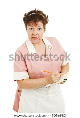 Mature waitress waiting to take your order.  Isolated on white. - stock photo